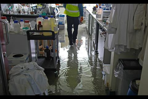 A picture showing the waterlogged lab following the St Andrews fire